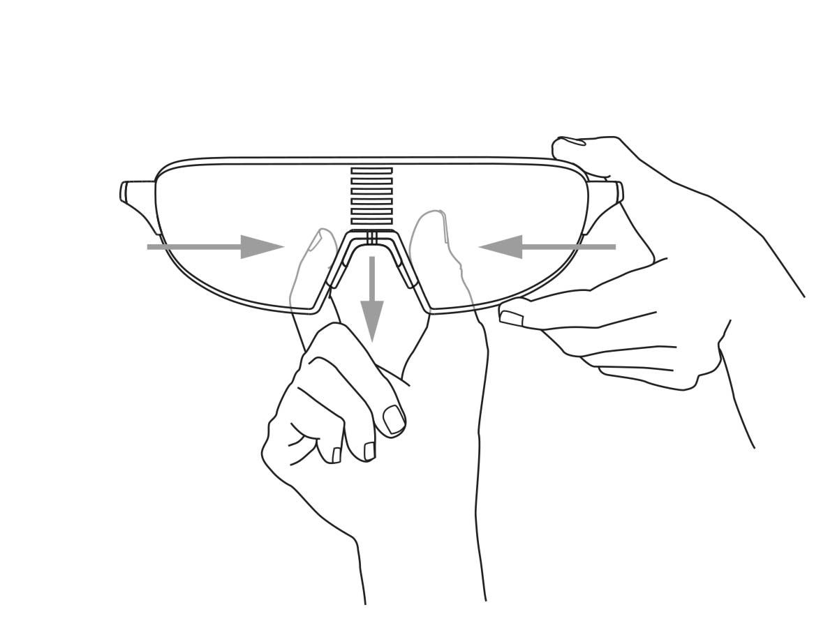 7ef396c4040 Pinch the lens with thumb and fore nger and with the other hand pinch and  push the nose-bridge together. Slide it downwards away from the lens.