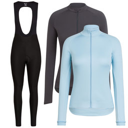 Women's Long Sleeve Core Jersey & Winter Jacket & Winter Tights With Pad Bundle