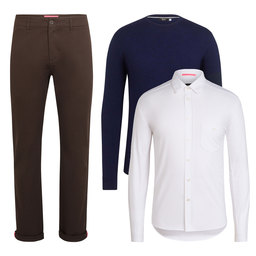 Crew Neck Knit, Cotton Oxford Shirt and Cotton Trousers