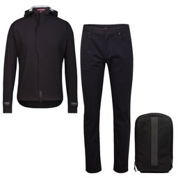 Hooded Rain Jacket, Jeans and Backpack Bundle